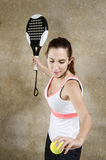 Paddle tennis woman ready for serve Royalty Free Stock Image