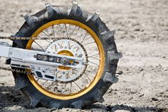 Paddle tire. Tire on motorcycle - paddle tire used on dirtbike for hillclimb royalty free stock image