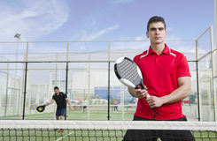 Paddle tnnis players ready for serve Stock Images