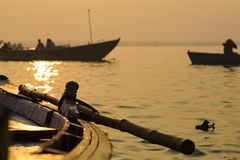 Paddle to the boat on the gang of Varanasi 2016. Paddle to the boat on the gang of Varanasi royalty free stock photos