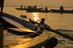 Paddle to the boat on the gang of Varanasi. India. Paddle to the boat on the gang of Varanasi Stock Images