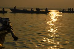 Paddle to the boat on the gang of Varanasi. India. Paddle to the boat on the gang of Varanasi Stock Photography