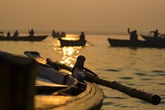 Paddle to the boat on the gang of Varanasi. India. Paddle to the boat on the gang of Varanasi Royalty Free Stock Images