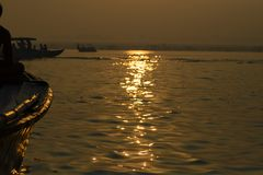 Paddle to the boat on the gang of Varanasi. India. Paddle to the boat on the gang of Varanasi Royalty Free Stock Image