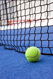 Paddle tournament. Vertical net composition of ball and net, open frame Royalty Free Stock Photo