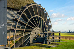 Paddle wheel of an ancient hollow post mill from close Royalty Free Stock Photos