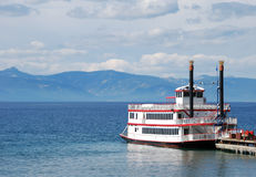 Paddle Wheel Boat on Lake stock images