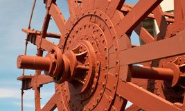 Paddle wheel. On old steamboat royalty free stock images