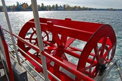 Paddle wheel of steam boat in Thousand Islands, NY, USA. Paddle wheel of steam boat Uncle Sam in Thousand Islands on St. Lawrence River, New York State, USA royalty free stock photo