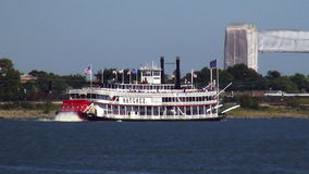 Paddle Wheel Steamer on Mississippi River New Orleans Louisiana stock footage