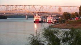 Paddle Wheel steamer on Ohio River  City of Cincinnati stock footage