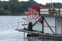 Paddle wheel of a sternwheeler stock image