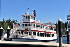 A paddle wheeler ship royalty free stock image