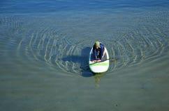 paddleboard的妇女在达讷论点港口,加利福尼亚 免版税库存图片