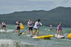paddleboard种族 免版税库存照片