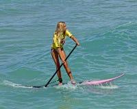 Paddleboard cor-de-rosa Foto de Stock