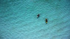 Paddleboard de la visión superior dos en un día soleado Fotografía de archivo libre de regalías