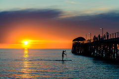 Paddleboard surfing man Royalty Free Stock Photography