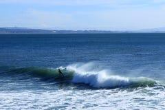 Paddleboarder едет волна в Santa Cruz стоковое фото rf