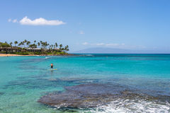 Paddleboarder in Napili Bay Lahaina Maui Hawaii Stock Photography