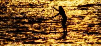Paddleboarder in Silhouet Royalty-vrije Stock Foto's