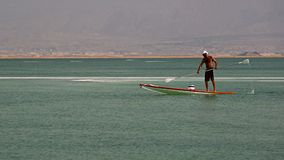 Paddleboarding at Dead sea, Ein Bokek, Israel Royalty Free Stock Images