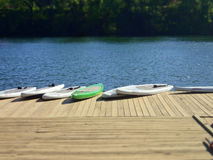Paddleboards de pé em uma doca no lago Fotografia de Stock