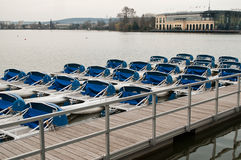 Paddleboat on the lake in Engien les bains - Paris France Stock Images
