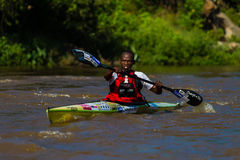 Paddler Chasing Dusi Canoe Race Royalty Free Stock Images