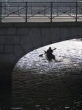 Paddler del kajak en el canal de Copenhague Foto de archivo