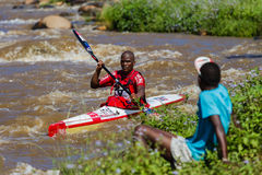 Paddler River Rapids Spectator Stock Photo