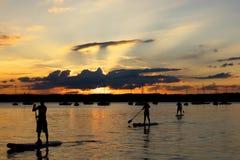 Paddler três de pé no lago Starnberg, Baviera, no por do sol Foto de Stock Royalty Free