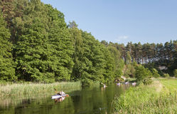 Paddlers on the brda Royalty Free Stock Photos