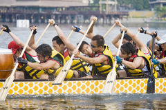 Paddlers della corsa di barca del drago Fotografie Stock Libere da Diritti