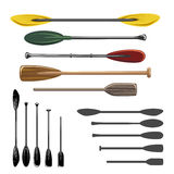 Paddles and oars vector icons Stock Photo