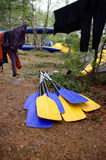 Paddles for white water rafting in the camp Royalty Free Stock Image