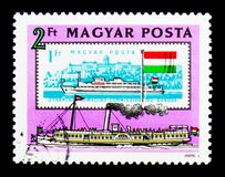 """Paddlesteamer. MOSCOW, RUSSIA - NOVEMBER 26, 2017: A stamp printed in Hungary shows Paddlesteamer """"Szechenyi"""" (1853), Danube Commission serie stock image"""
