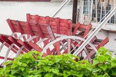 Paddlewheel riverboat traveling down the Ohio river toward Cincinnati in summer. stock images