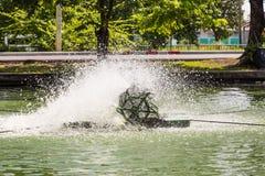Paddlewheel water aeration Stock Images