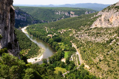 Paddling at the Ardeche river in south-central France Royalty Free Stock Photography