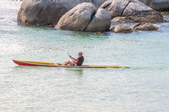 Paddling with a canoe at Boulders Penguin Colony Royalty Free Stock Photography