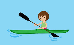 Paddling canoe girl Royalty Free Stock Photography