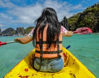 Paddling kayak on blue sea stock photos