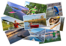 Paddling kayak, canoe and SUP picture set Stock Photo