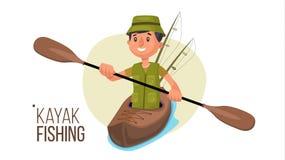 Paddling Kayak Vector. Summer Kayak Fishing. Fishermen Isolated Flat Cartoon Character Illustration Royalty Free Stock Photo