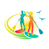 Paddling. Man and woman standing on the paddleboards stock illustration