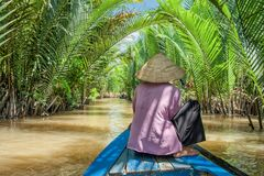 Paddling in the Mekong delta. Ben Tre, Vietnam - March 6, 2009: Vietnamese woman paddling a traditional boat in the Mekong delta at Ben Tre island. The Mekong royalty free stock photography