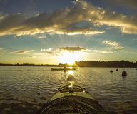 Paddling in the sunset sweden Royalty Free Stock Image