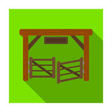 Paddock gate icon in flat style isolated on white background. Rodeo symbol. Stock Photos
