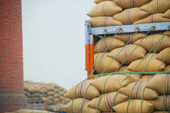 Paddy bags. Paddy processing factory in India royalty free stock photos